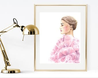 Watercolor fashion illustration, girl in pink fashion illustration, girl watercolor painting, printable pink fashion illustration, wall art