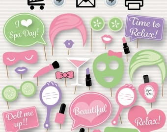 Spa Day Party Printable Photo Booth Props - Instant Download - Spa Party - Spa Day - Slumber Sleepover Manicure Pedicure- Spa Birthday Party