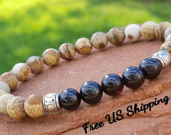 Men's Bracelet, Healing Bracelet, Mala Bracelet, Garnet Bracelet, Spiritual Bracelet, Energy from Sedona