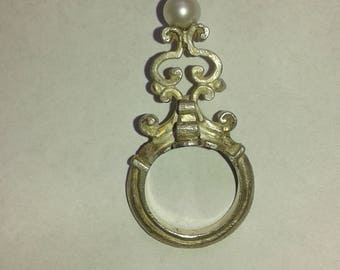 Baroque Silver and Pearl Ring