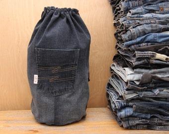Denim recycled backpack, denim backpack , upcycled denim backpack , jeans kids toddler backpack , handmade backpack , denim bag , jeans bag