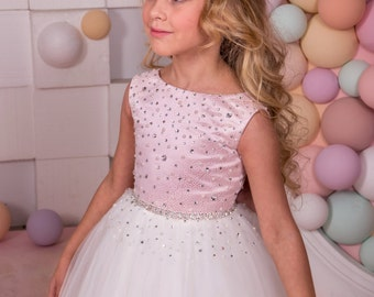 Pink and Ivory Flower Girl Dress - Holiday Bridesmaid Birthday Wedding Party Ivory and Pink Flower Girl Tulle Dress 14-1058