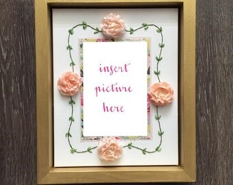 The Evelyn Display Frame-Hand Embroidered Silk Ribbon Flower Picture Frame