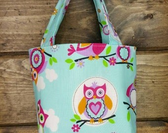 Three Little Owls, Childs Purse, Childs Tote, Owls tote, Owl purse