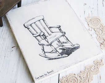 Wood sign, Rocking chair illustration, Kitchen decor, Black and white print on wood, rustic home decor