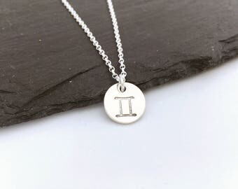 Gemini zodiac necklace, sterling silver Gemini star sign necklace, hand stamped Gemini charm necklace, gift for teenager, June birthday gift
