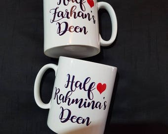 Personalised half deen set of mugs with any name