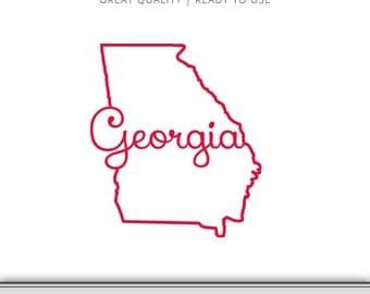Georgia Home State Outline Graphic - Georgia SVG - Georgia DXF - Georgia State Outling SVG - Digital Download - Ready to Use!