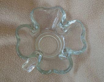 Vintage Glass Shamrock Bowl or Candy Dish Nut Bowl