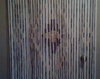 Wood beaded curtain