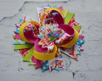 Birthday gift for kids Hair bows Rainbow baby Headband girls Happy birthday hair clip Gift bows Birthday party favors girls Ideas gift