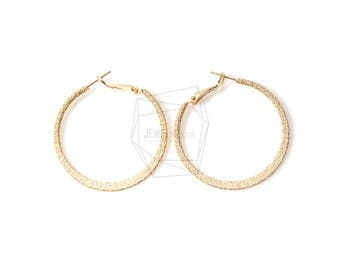 ERG-412-MG/2PCS/Small Textured Hoop Earring Post/40mm/Matte Gold Plated over Brass