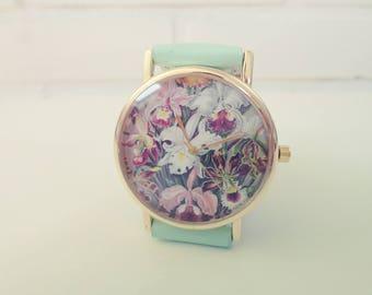 Watch woman - Golden dial - print flowers - gem - Mint - green pastel strap - White leather bracelet bracelet PU - gift wife