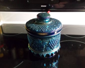 "Fenton ""COOKIE JAR"" Centennial Collection 2002 Faverine Carnival Glass 7"" Tobacco Jar Grapes & Cable"