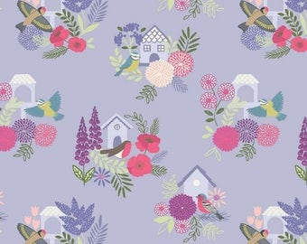 Bird Houses on Lilac Floral British Birds Wildlife Cotton Fabric from the Grandma's Garden 2017 collection by Lewis and Irene