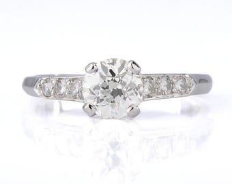 Vintage  diamond engagement ring | 0.90 carat Old European | Platinum | art deco period  Circa 1930.