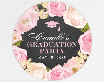 Graduation Favor Labels, Graduation Stickers, Printed Graduation Label, Graduation Tag, Girl, Chalkboard, Pink, Watercolor, Flowers, Camille