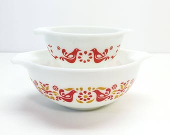 Vintage Pyrex Friendship Red and Orange Birds Two Cinderella Mixing Bowls #443 #441