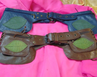 Navy Blue Leather Pocket Belt/ festival/ travel/hand made with green leaves design/hip /waist/women