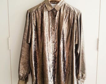 Vintage Blouse, 80s/90s  Metallic Retro Blouse - Small