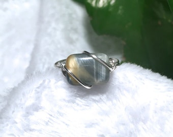 Gold tigers eye wire wrap ring variety 2
