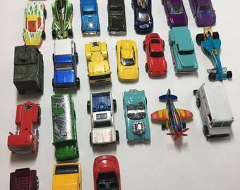 Huge Vintage HOT WHEELS Lot of Cars - 28 Diecast Cars, Trucks, Helicopters, Rescue Vehicles, Postal Truck - Mattel
