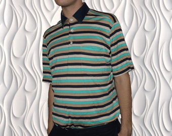 90s CHRISTIAN DIOR Monsieur - Medium - Striped Polo Shirt
