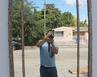 Hollywood Regency Faux Bamboo Decorative Wall Mirror.