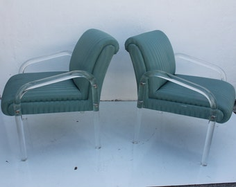 Mid - Century Modern Lion In Frost Lucite  Dining Chairs A Pair .