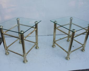Italian Vintage Hollywood Regency Brass Side Table A- Pair.