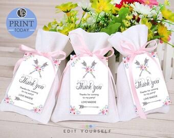 Boho Favor Tag, Boho Gift Tags, Boho Printable, Boho Thank you Tags, Favor tag, Baby Shower Favor Tag, Arrows and Flowers, Edit yourself