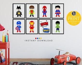 Superhero Wall Art superhero name // superhero wall art // boy wall art // girl