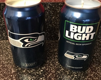 Seattle Seahawks candle in 2016 Bud Light beer can