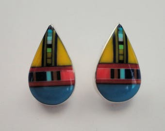 tear drops Earrings post with inlay