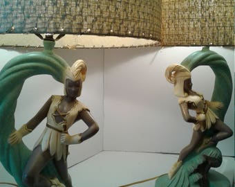 Pair of Vintage Continental Art Co. Siam Dancer Lamps