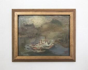 Night Haven Mid Century Harbor Seascape Original Vintage Oil Painting Signed Framed