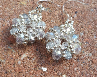 Crystal baroque earrings with sterling silver ear wires.