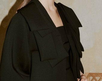 SALE Black Blazer Bomber, Cropped Neoprene Jacket with Layered Front Part by ILMNE