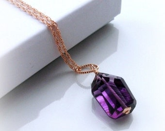 Natural AMETHYST Nugget Necklace On Rose Gold Rope Chain - FEBRUARY BIRTHDAY - Gift For Her