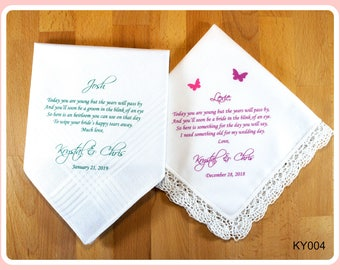 Flower Girl & Ring Bearer Wedding Handkerchiefs-Set of 2-Wedding Hankerchief-PRINT-CUSTOMIZED-Flower girls gifts-ring bearer security