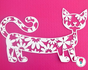 Cat paper cut svg / dxf / eps / files, and pdf / png printable templates for hand cutting. Digital download. Commercial use ok.