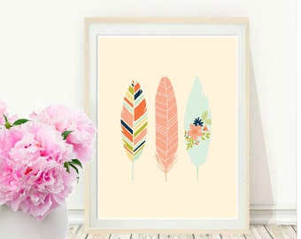 Feather Print, Printable Art, Feather Art Print, Tribal,  Feather Art, Pink Wall Art, Instant  Download, Wall Art, Home Decor