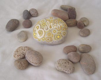 Mandala Message Pebble BELIEVE Dotwork Art Hand Painted Natural Pebble