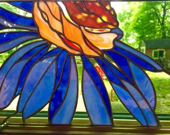 Beautiful stained glass flower, blue iridescent glass, orange art glass, Mothers Day gift, Original Design