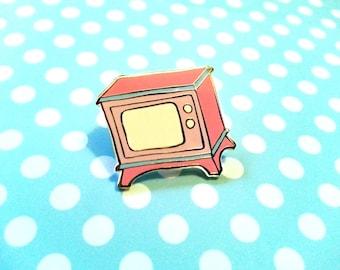 Enamel Pin, Vintage TV pin, 1970s television pin, funny enamel pin, enamel lapel pin, hard enamel pin, TV badge