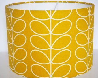 "Modern ""Orla Kiely"" stem mustard yellow lampshade - pendant - 30cm diameter"