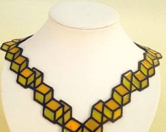 Yellow necklace optical illusion, modern necklace, contemporary design, wearable art, art necklace, dutch jewelry, designer necklace
