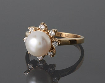 FINAL SALE 50% OFF, Pearl ring gold, White pearl ring, Woman pearl ring, Gold woman ring, Pearl ring, Promise gold ring