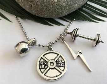 Fitness Large Kettle Bell BARBELL Lightning Bolt & 45lb Weight Charms Tough Stainless steel Neckace  gift Wrapped ready for gifting