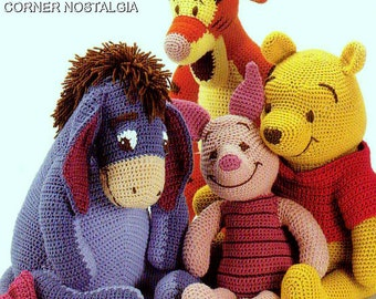 Vintage Crochet PDF Pattern -Winnie the Pooh Tigger Piglet and Eeyore Toys Amigurumi -pattern from 1970